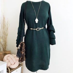 Green Sweater Dress with ruffle Sleeves